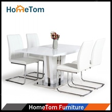 High Gloss Finish MDF Dining Table Chairs 1+4 Dining Room Set