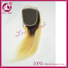 Newness import brazilian ombre lace closure qingdao sell glorious two tone blonde black color ample products straight hair