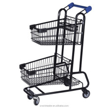 high quality 70L 2 tier grocery shopping cart/Double Baskets Metallic Shopping Trolley for sale