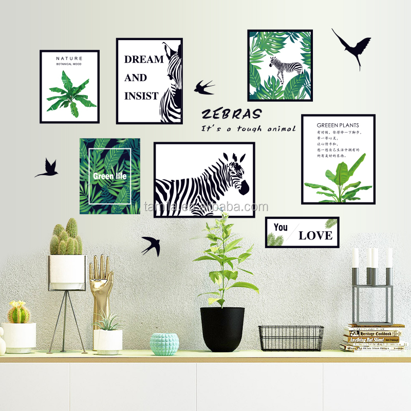 Forest Style Ins Wall Wallpaper Leaves Nordic Fresh Wall Decorative Sofa Zebra Wall Posters
