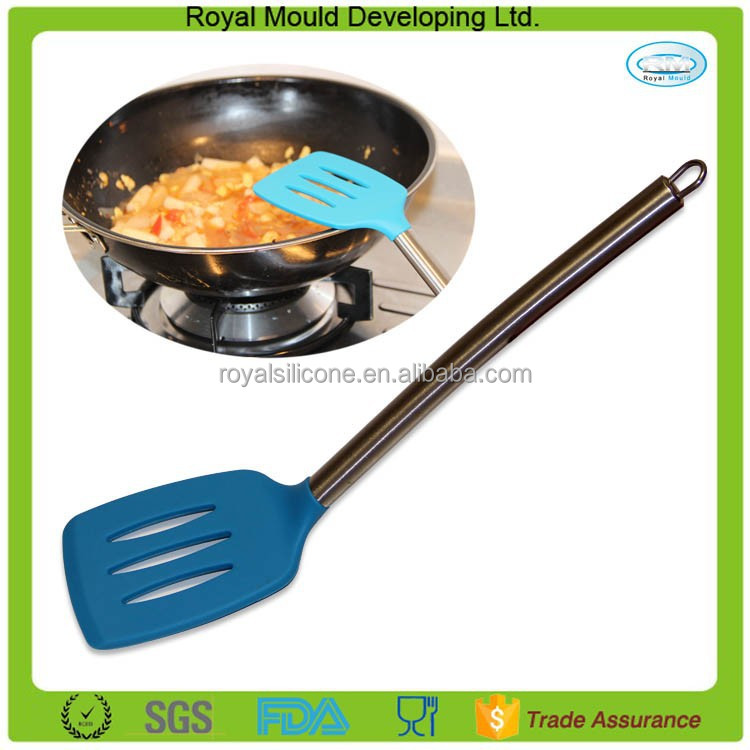 Hot Selling Cooking Utensils Heat Resistance Silicone Slotted Turner with Stainless Steel Handle