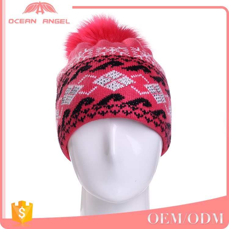 Wholesale cheap custom detachable pom pom red knitted hat beanie with casual style