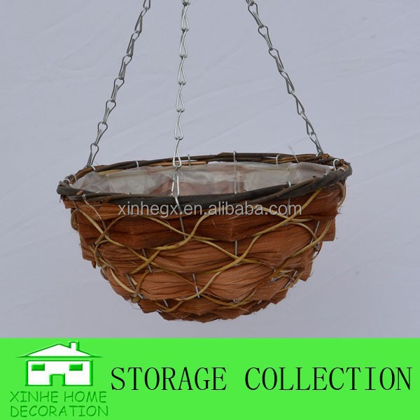 handmade rattan hanging flower basket wholesale
