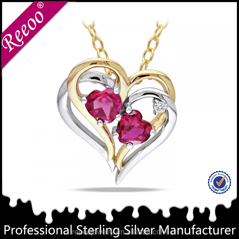 soulmate Wholesale Natural ruby Stone Jewelry double Heart gold plated Pendant