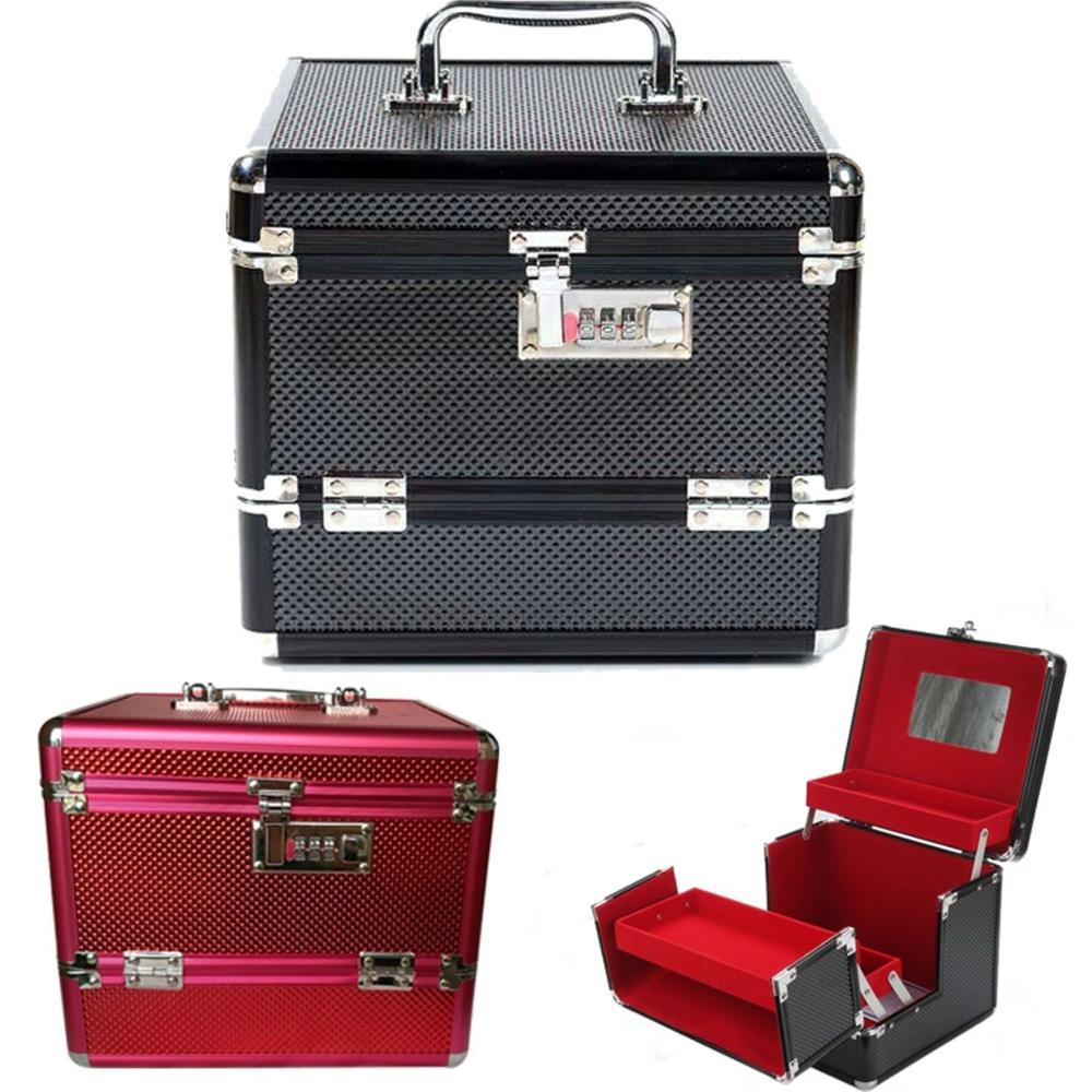 Makeup Cosmetic Case Make Up Box Professional Aluminium Lockable Jewelry Box New