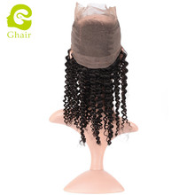 Peruvian virgin human hair 360 lace frontal kinky curly natural color for wholesale