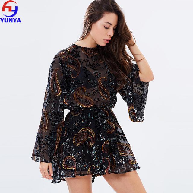Fashion women long sleeves open back flocked velvet patrern saree blouse