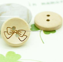 2 holes decorative printed wooden button bulk for kids garment