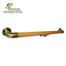 High Quality Steel Substrate Wrapped Beech Wooden Surface Grab Bar with Middle Support for Safety
