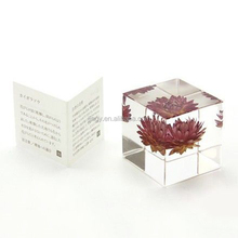 Clear acrylic cube paperweight