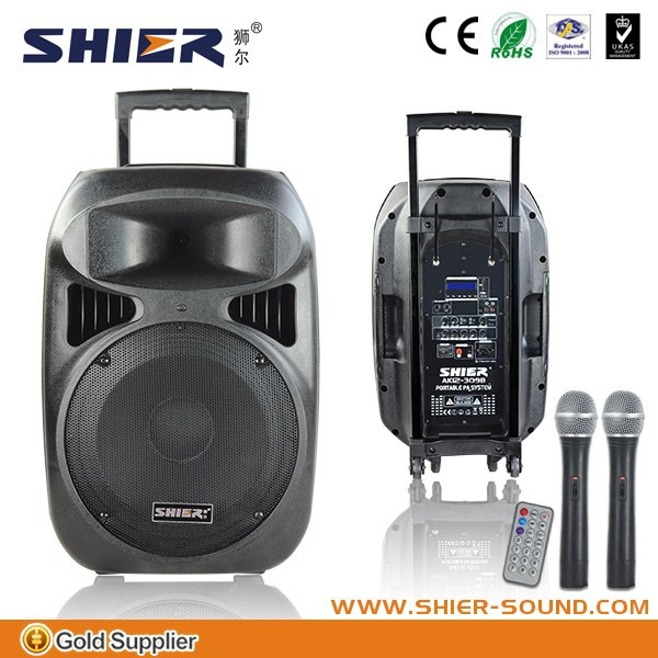 "12"" wireless pa system for speaker crossover network with usb handle and wheels"