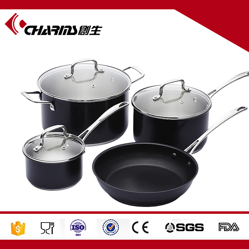 Professional Kitchen Stainless Steel Set Pan Pot Cookware Cooking 7 pieces
