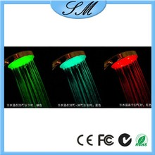 Water Temperature Controlled 3 Color Changing Lighting Led Shower Head
