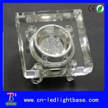 Transparent glass square 3D laser crystal led lighting base for centerpiece