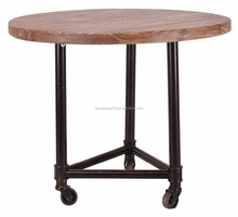 round table with caster metal end table wooden side table