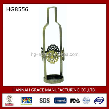 Decorative Metal WIne Bottle Frame Wine Holder with Metal Flower