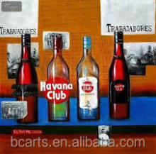 Home goods oil painting still life wine glass bottle modern art oil painting 2012