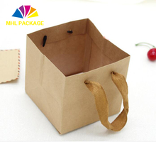 Square solid color folding package wide bottom kraft paper fast food take away bags