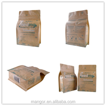 OEM custom printed plastic laminated kraft paper bag flat bottom bag with zipper