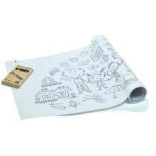 Continuous coloring paper painting roll with full self-adhesive backing for family