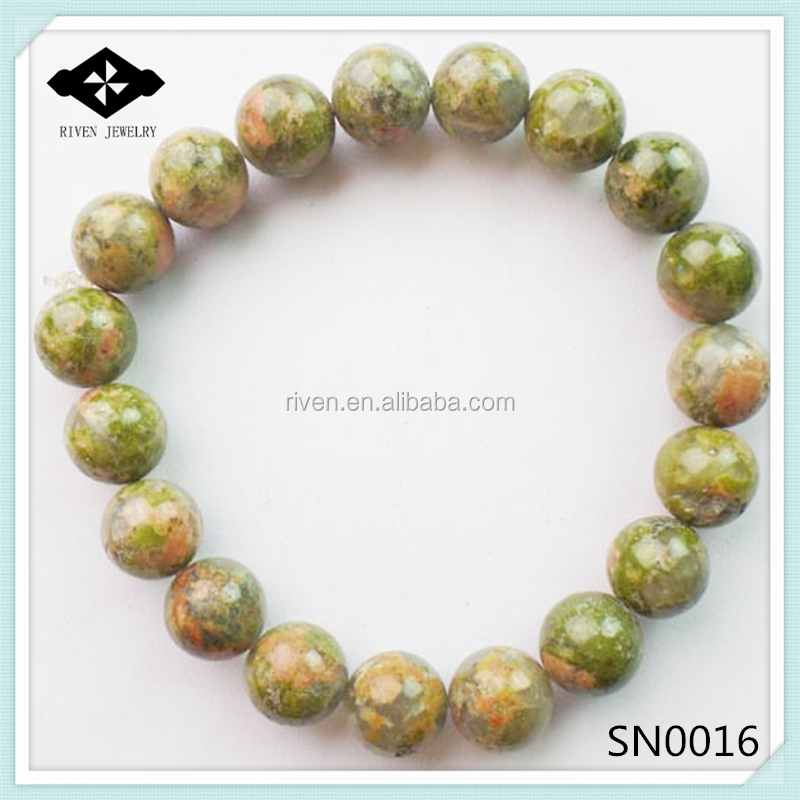 SN0016 Stretch Round Beads Natural unakite 8mm natural stone bracelet.jpg