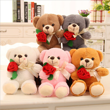New design Valentine's Day gift <strong>plush</strong> teddy bear with rose teenager favorite gift business present