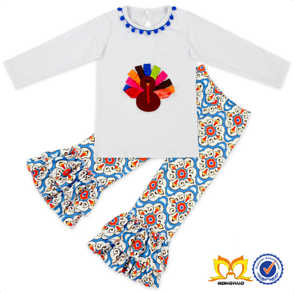 Children Girls Colorful Thaksgiving Turkey 3 Year Old Clothing Wholesale 2pcs Set Kids Girl Clothes Set
