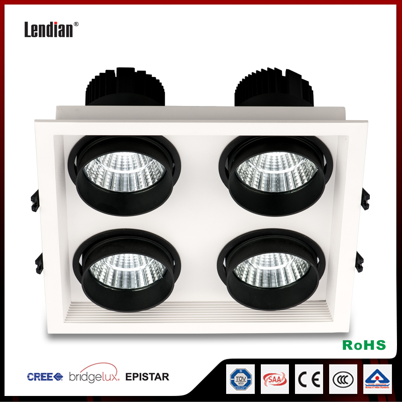 36W high cri ceiling led recessed four heads grille light with EMC