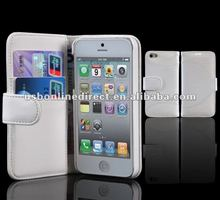 Crocodile Folio PU case for iPhone 5 with wallet function white