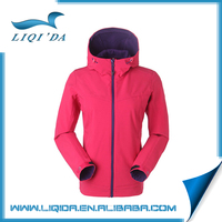 Outdoor winter red color warm waterproof windproof softshell jacket woman