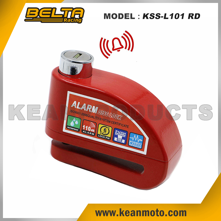 Security Protect Anti-theft Universal Zinc Alloy Motorcycle Red Alarm Brake Disc Lock KSS-L101 RD