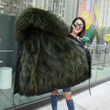 2018 Winter Warm Hooded Real Fox Army Green Fur Jacket Parka For Women