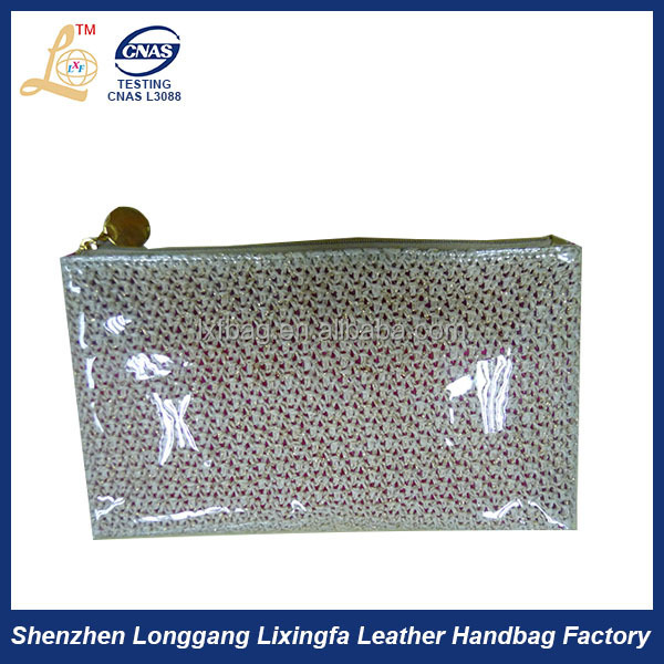Hottest Gold Zipper Flash mini clear cosmetic pvc bag