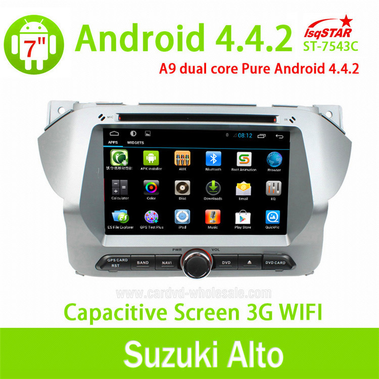 Quad-Core Android 4.4 Car DVD radio for suzuki alto with steering wheel control GPS 3G Wifi mirro link OBD TPMS
