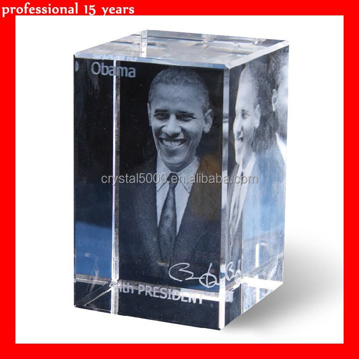 3D laser obama crystal figurines for souvenirs