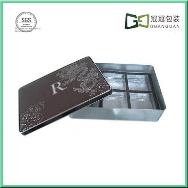 CMYK printed square shape chocolate cookie tin box