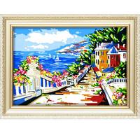 2015 Diy Paintings by numbers wholesale seascape oil painting for home decor