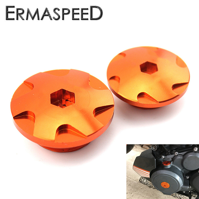 Pair Orange CNC Motorcycle Engine Cover Camshaft Plugs Modified Accessory for KTM DUKE 200 390 2013 2014 2015 2016 Motorbike