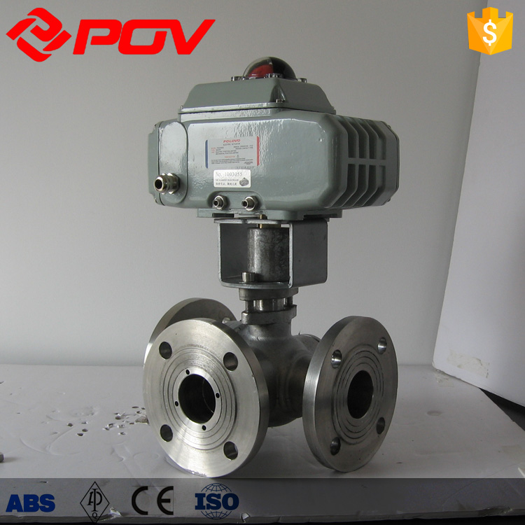 3 way flanged l type float ball valve motorized 1.6mpa