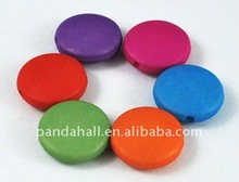 Flat Round Acrylic Beads, Mixed Color, about 13mm, hole: 3mm(MACR-8273-5)