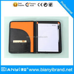 Emboss your LOGO Accept custom design leather ring binder portfolio/file binder/handmade leather file folder