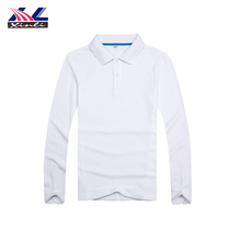 Good Price Soft Polo Neck Printing Cotton White Long Sleeve T Shirt