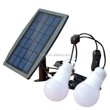 Portable 2.5W solar panel with 2 cables 2 bulbes 140lm Solar LED Bulb Light