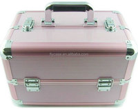2013 new design make up case ,aluminium cosmetics case ,leather cosmetics boxes with mirror inside and strong handles