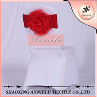 Wholesale blush organza flower wedding chair sashes for spandex chair band