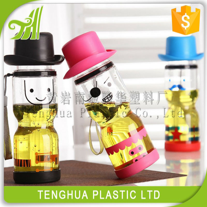 Smile Face 400ml Empty Plastic Traveling/Camping Portable Bottle Plastic Drink Water Bottle