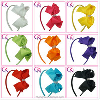 CNHB-1409191 Rhinestones Decorated Elegant Bow Plain Colored Girls Hair Bands