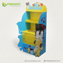 Cute corrugated cardboard tray display 2 tire for dull or puppet