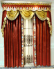 Royal Home Cinema Design Curtain, Elegant Gold and Red Velvet Curtain, Home Decorated Blackout Window Curtain