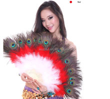 Nice Belly Dance Ostrich Feather Fan , Feather Fans for Dance